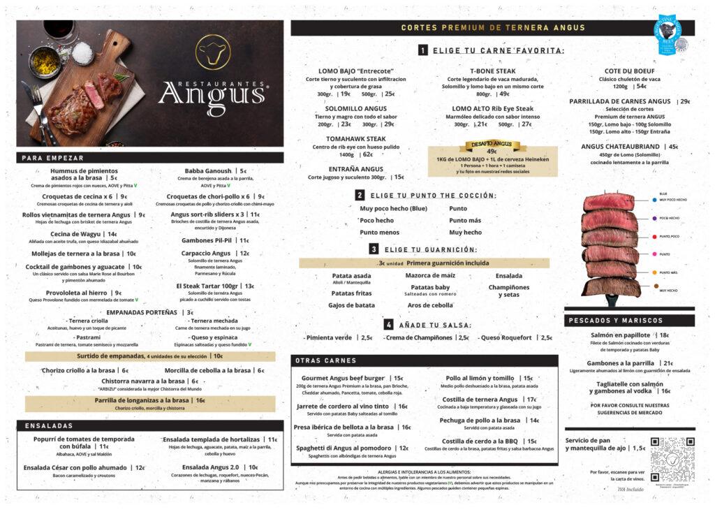angus playamar menu